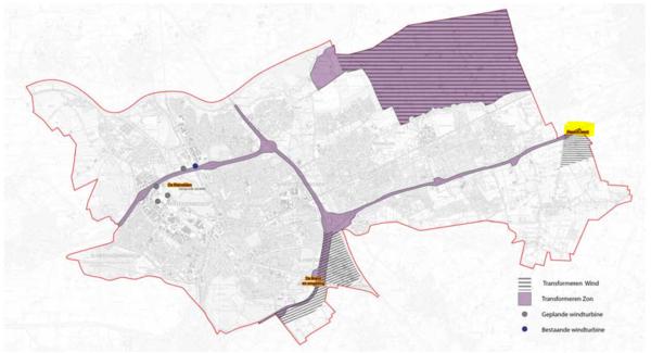 Kaart uit visie met Heesch West als gebied waar zonne - en windenergie gerealiseerd kan worden.